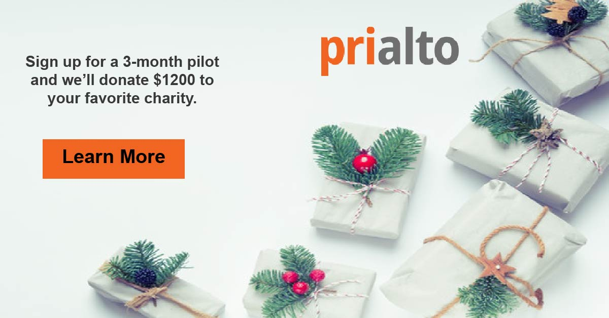Holiday Offer: Sign up for a 3 month pilot and we'll donate $1200 to your favorite charity. Click the image to learn more.