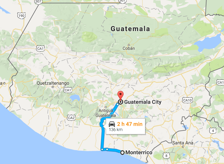 Guatemala City to Monterrico.png