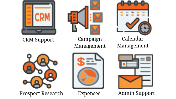 Icons showing our most common takes that virtual sales assistants do: CRM support, campaign management, calendar management, expenses, general admin, and prospect research.