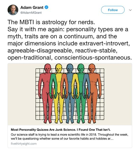 Author, speaker and Wharton professor Adam Grant has his own opinion on MBTI.