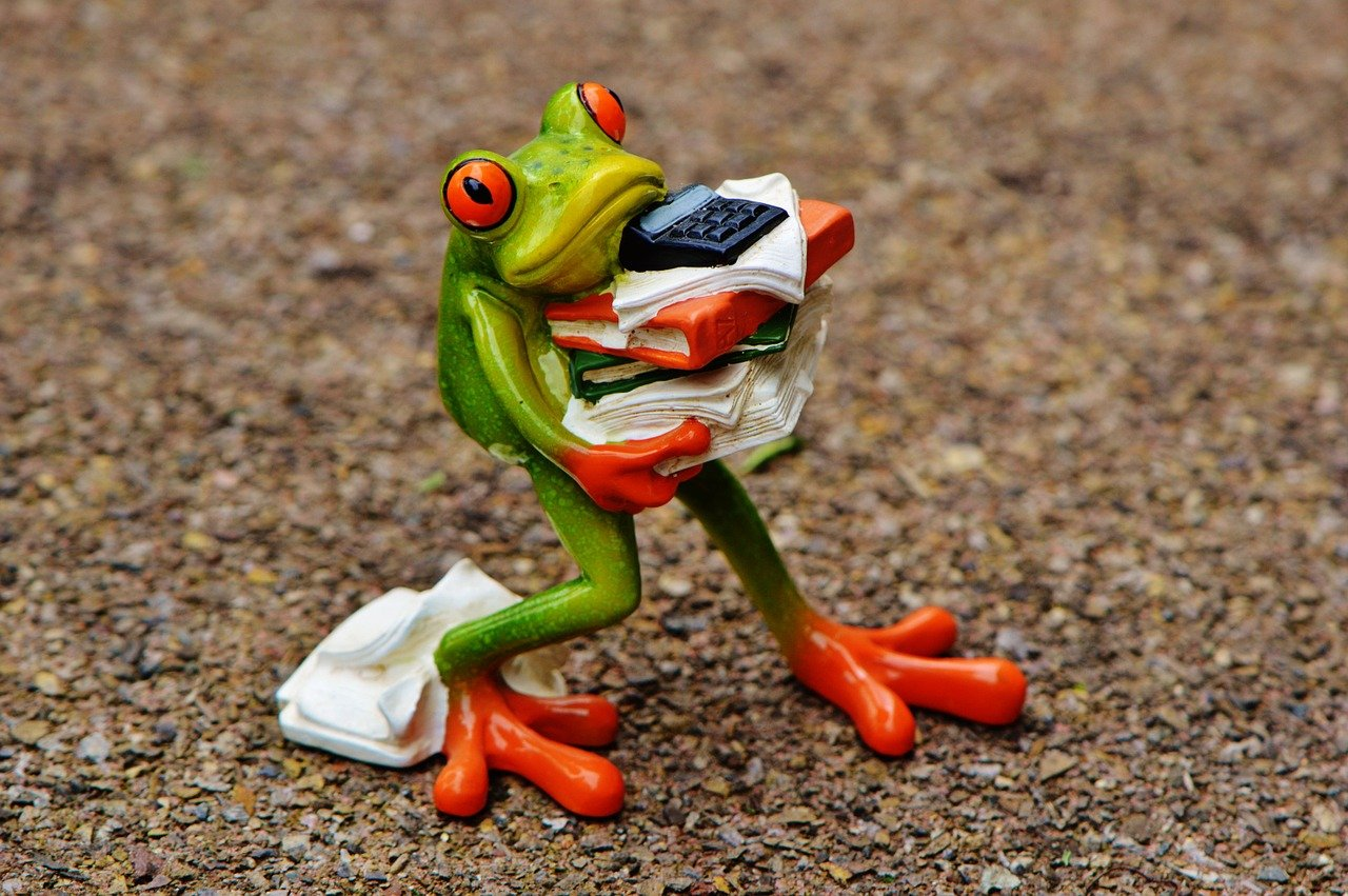 Frog figurine carrying a bunch of books, paperwork, and a calculator.